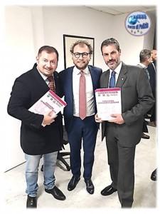 Palazzo Chigi, Presidenza del Consiglio dei Ministri, Sala Monumentale a Largo Chigi, Gianluca Guerrisi e Fausto Zilli con il Ministro dello Sport Luca Lotti