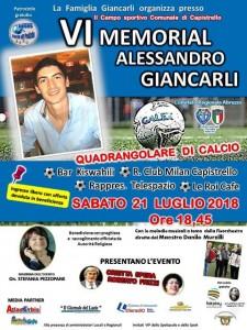 VI^ Memorial Alessandro Giancarli a Capistrello il 21 luglio 2018