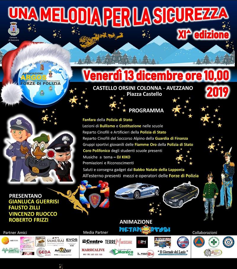 Una Melodia per la Sicurezza XI edizione – Avezzano – Castello Orsini Colonna – Venerdì 13 dicembre 2019 ore 10.00