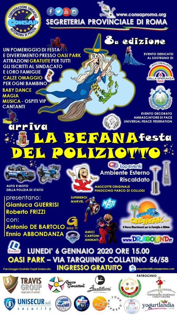 ARRIVA LA BEFANA – FESTA DEL POLIZIOTTO CONSAP – 8A EDIZIONE – 6 GENNAIO 2020 ORE 15.00